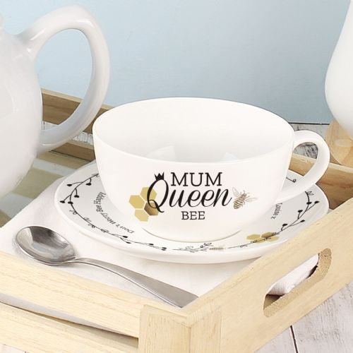 Queen Bee Bone China Teacup and Saucer Personalised Gift For Mothers Day, Birthday.